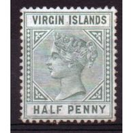 British Virgin Islands Queen Victoria ½d Green Stamp From 1883.  This Stamp Is Catalogue Number 27. - British Virgin Islands