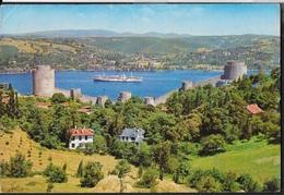 TURCHIA - ISTAMBUL - LA FORTEZZA E IL BOSFORO -VIAGGIATA 1985 FRANCOBOLLO ASPORTATO - Turchia