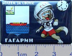 82-7 Space Sport Russian Pin.2018 FIFA World Cup Volk - Zabivaka. Gagarin City Emblem - Space