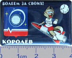 82-8 Space Sport Russian Pin.2018 FIFA World Cup Volk - Zabivaka. Korolev City Emblem. - Space