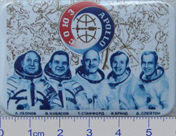 287-3 Space Russian Badge Button Pin Soyuz-Apollo - Space