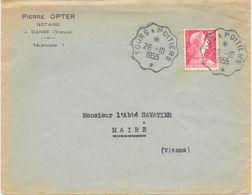 Convoyeur Tours à Poitiers 1955 - Marcophilie (Lettres)