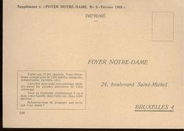 1948 PRIVE KAART BLANCO  - FOYER NOTRE DAME - NR 2/48 - - Zonder Classificatie