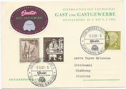 CARTE POSTALE 1955 AVEC 3 TIMBRES ET CACHET GAST UND GASTGEWERBE DÜSSELDORF - [7] Federal Republic