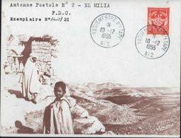 Enveloppe Illustrée Antenne Postale 2 El Milia FDC CAD Vaguemestre D'étape N°2 10 12 1955 Guerre D'Algérie YT FM N°12 - Storia Postale