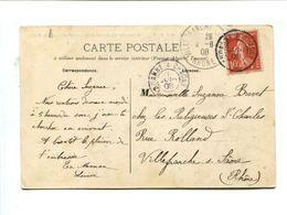 """Cp - 5c Rouge Type Semeuse Sur Cp Oblitérée Avec Ambulant """"ROANNE A CHAGNY"""" Pour Villefranche S/Saone - Storia Postale"""