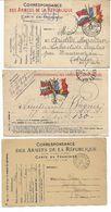 GUERRE 14-18  LOT DE 3 CARTES DE CORRESPONDANCE DE LA REPUBLIQUE -DRAPEAUX- VOIR 2 SCANS - Guerre 1914-18