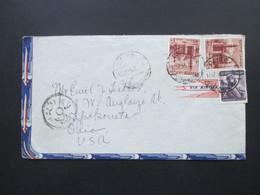 Ägypten 1955 Luftpostbeleg In Die USA Mit 4 Stempel! Via Air Mail - Ägypten