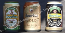 """Lot 3 Canettes : 01 """"BeerLao"""" LAGER BEER,  01 """"BeerLao"""" GOLD,  01 """"BeerLao"""" Dark - Cannettes"""