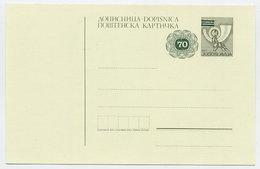YUGOSLAVIA 1987 Posthorn Surcharge 70 On 50 D. Postcard, Unused. Michel P190B - Postal Stationery