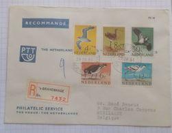 Pays-Bas Y/Y N°733/7 Série Oieaux Sur Lettre Rcommandée FDC - Period 1949-1980 (Juliana)
