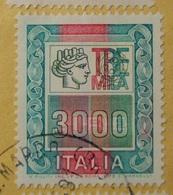 ALTI VALORI 3000 Lire Varietà Con Rosso Nei Fregi A Dx E Diverso Colore Effige (Italia Turrita) Verde Invece Di Azzurro - 1971-80: Usati
