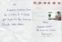 TIMBRES - STAMPS - LETTRE POUR PORTUGAL AVEC AUTOCOLLANTS ET CODE À BARRE ROUGE ET TIMBRE - CAP VERT / CAPE VERDE - Cape Verde