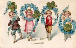 Année Date Millesime - 1906 - Enfants Tenant Les Chiffres Fleurs Trèfles, Gaufré - Nouvel An