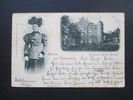AK / Mehrbildkarte 1898 Gruss Aus Oldenburg. Elisabeth - Anna - Palais. Nach Lauterberg Und AK Stempel KOS Lauterberg - Gruss Aus.../ Grüsse Aus...