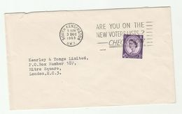 1963 South Kensington GB COVER SLOGAN Pmk CHECK VOTERS LIST Stamps - 1952-.... (Elizabeth II)