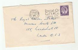 1962 South Kensington GB COVER SLOGAN Pmk POSTAL ORDER GIFT CARDS MAKE GAY MESSENGERS Stamps - 1952-.... (Elizabeth II)