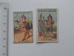 CHROMO Chocolat POULAIN Mini-format: Lot 2 Différents Même Série - Le Pitre Souplesse Cirque Clown Magicien - Poulain