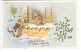 1948 - COLOPRINT 53083 - GELUKKIG NIEUWJAAR - KAT EN HOND -  TRES BELLE CARTE - ZEER MOOIE KAART - Fancy Cards