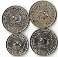 Lot 4  Pièces De Monnaie   10 Et  20  Cents - Singapur