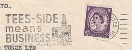 1966 GB COVER  SLOGAN Illus PETROCHEMICAL INDUSTRY TEESIDE MEANS BUSINESS, Stockton On Tees Stamps Energy Oil - Pétrole