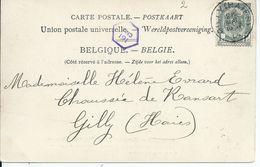 Fantasiekaart Met OCB 53 - Afstempeling GILLY(HAIES) - COBA 50 - 1893-1907 Wapenschild