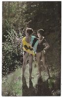 CPA   1900/1910  D'origine Deux Jeunes Garcons Nus Se Baladant Cape En Fourrure Dans La Nature Boysl Nude - Scene & Paesaggi
