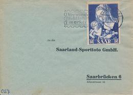 SAARBRÜCKEN  - 1954  -  Marianisches Jahr -  Verwendet Wohlfahrts-marken !  -  Marke Gelblich - Lettres & Documents