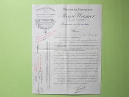CHARQUEMONT (Doubs) Facture Ancienne (Cachet Maire & Instituteur) Fabrication De MONTRES / Henri WASNER 1900 - Petits Métiers