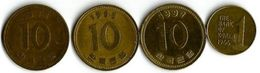 Lot 4 Pièces De Monnaie   1  Et 10  Won - Korea, South