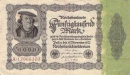50.000 Mark Reichsbanknote A 12966303 - [ 3] 1918-1933 : Weimar Republic