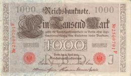 1.000 Mark Reichsbanknote 2569791 F - [ 2] 1871-1918 : German Empire