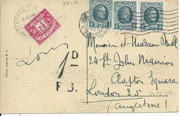 Zichtkaart CHATEAU DE FLORENNES Met OCB 193 (3x) En Engelse Takszegel Van 1d - 1922-1927 Houyoux