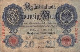 20 Mark Reichsbanknote B 1296862 - [ 2] 1871-1918 : German Empire