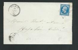 LSC AFFRANCHIE PAR YVERT N° 14 Type 2  Oblitéré  Petits Chiffres 3314  (  Talmont )   -  Ax13004 - 1849-1876: Classic Period