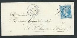 Lsc Affranchie Par Yvert N° 22 Obl Gros Chiffres 2213 ( Mareuil-sur-Lay , Vendée ) En 1866  Ax13011 - 1849-1876: Classic Period