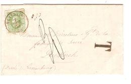 TP 30 S/LAC C.Blandain 7/10/1875 Griffe T 0,10 En Manuel V.Gd Duché De Luxembourg Diekirch Taxé 30 JS147 - 1869-1883 Leopoldo II