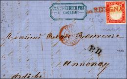 1176 1862 - SARDEGNA, Punti 9 - 40 Cent. (16D), Perfetto, Su Frontespizio Di Lettera Da Cagliari, Imposta... - Italië