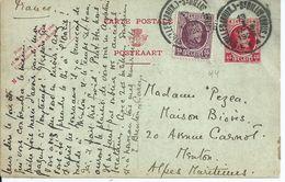 45c-postkaart Met Bijfrankering OCB 195 - Afstempeling ST.GILLES(BRUX) - 1922-1927 Houyoux