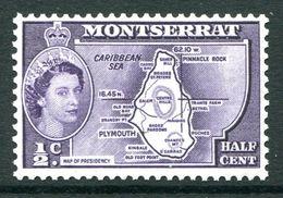 Montserrat 1953-62 QEII Definitives - ½c Map Of Presidency MNH (SG 136a) - Montserrat
