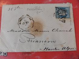 03.04.18-LSC Avec N°60   Variété ,rare Convoyeur De Marcilloles  LY RIV,cachet De Grenoble Pour Briancon - Marcophilie (Lettres)