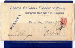 ##(DAN184)-1925-  Pordenone-piego Andrea Galvani-Pordenone Con Pubblicità Numerazione Delle Case E Delle Sepolture - Pubblicitari