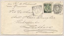 Nederlands Indië - 1900 - 20c Opdruk Op Bontkraag, Als Bijfrankering Op Cover Van VK Padang Naar GR Zutphen / Nederland - Nederlands-Indië