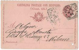 LT106  Vercelli 1897 - Annullo Tondo Riquadrato Su Cartolina Postale Con Risposta  Per Milano - Ganzsachen