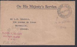 "Pitcairn - 1951  ""On His Majesty's Service"" Enveloppe Public Relations Officielles De Pitcairn Island Pour Marseille - - Stamps"