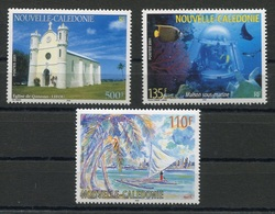 RC 8280 NOUVELLE CALÉDONIE N° 851 / 853 EGLISE MAISON SOUS MARINE TABLEAU NEUF ** - Nueva Caledonia