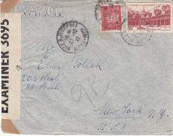 Env Affr Y&T 499 + 514 Obl NICE R.P. DEPART Du 27.10.42 Adressée à New York Avec Censure - Poststempel (Briefe)