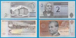 Estland - Estonia 2 + 5 Kronen Banknote 1994/06 Pick 76/85  (18360 - Estonia