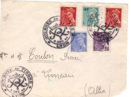 Devant De Lettre , Fête Du Timbre De Lyon De 1944, Affr. Uniquement Avec Des Mercure - Postmark Collection (Covers)