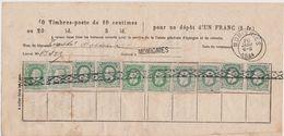 30 (10x) Bulletin D'Epargne / Momignies Griffe  26-1-1884 - 1869-1883 Leopold II